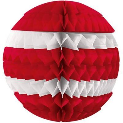 Décoration avec suspension boule éventail rouge et blanche 25cm (x1) REF/SBER
