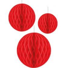 Décoration de salle suspension boule alvéolée rouge (x3) REF/TSBR