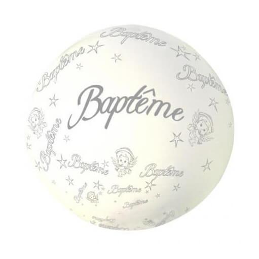 Decoration de salle elegante avec ballon geant bapteme blanc