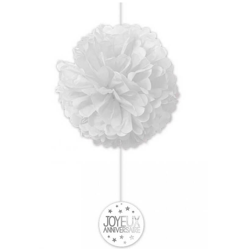 Decoration de salle joyeux anniversaire avec fleur en soie blanche