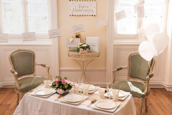 Decoration de salle joyeux anniversaire blanc et or