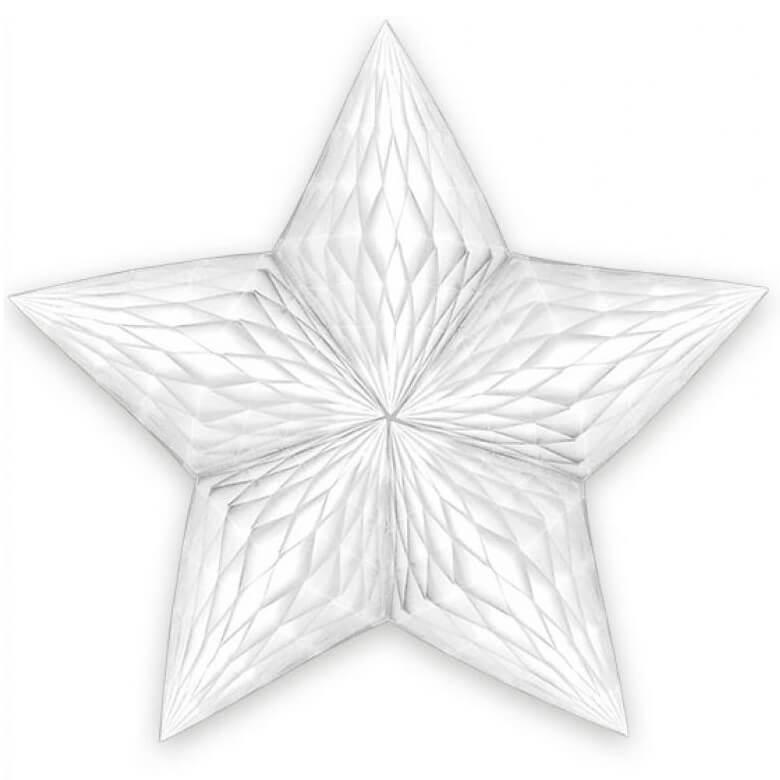 Decoration de salle suspension etoile blanche en papier