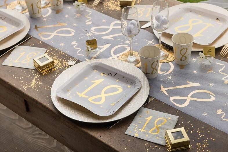 Decoration de table 18ans or et blanc