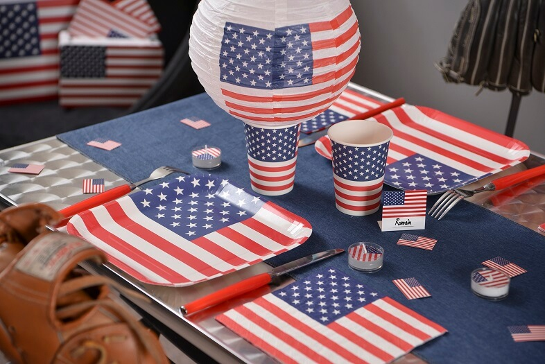 Decoration de table amerique usa avec gobelet
