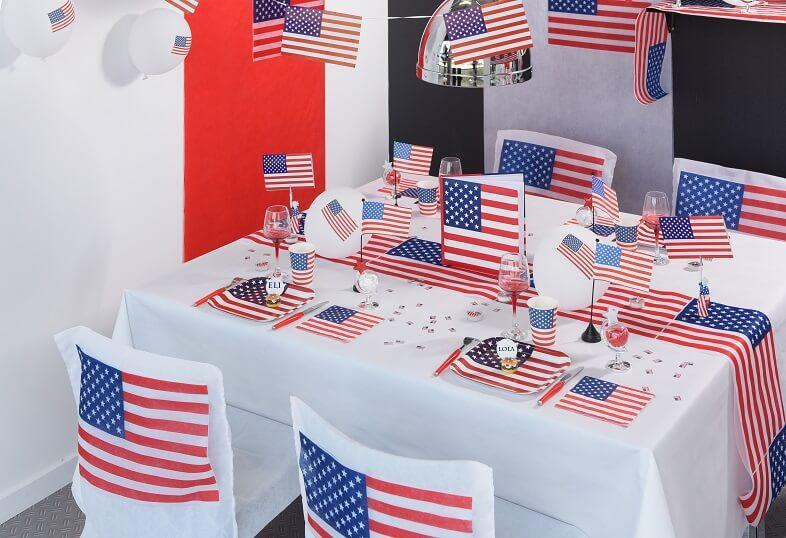 Decoration de table amerique usa tricolore bleu blanc et rouge