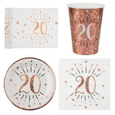 1 Pack décoration de table 20 ans anniversaire 10 personnes blanc et rose gold.