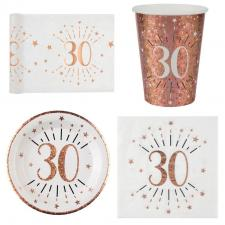 1 Pack décoration de table 30 ans anniversaire 10 personnes blanc et rose gold.