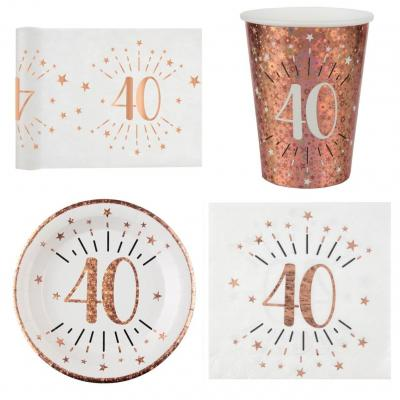 1 Pack décoration de table 40 ans anniversaire 10 personnes blanc et rose gold.