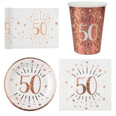 1 Pack décoration de table 50 ans anniversaire 10 personnes blanc et rose gold.