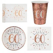 1 Pack décoration de table 60 ans anniversaire 10 personnes blanc et rose gold.