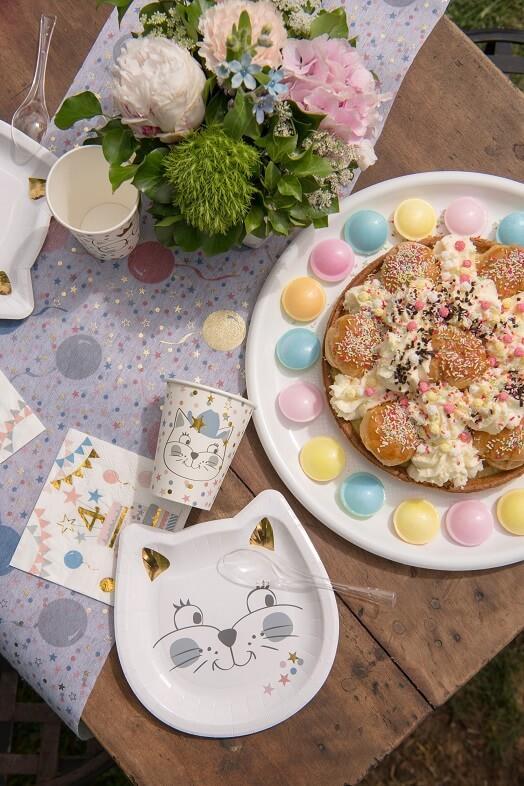 Decoration de table anniversaire enfant avec assiette chat
