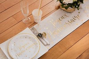 Décoration de table anniversaire metallisée