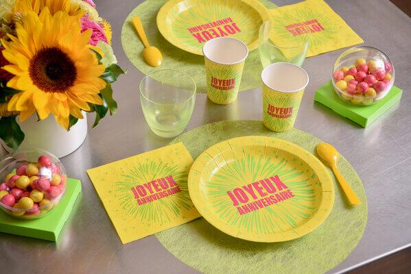 Decoration de table anniversaire vert