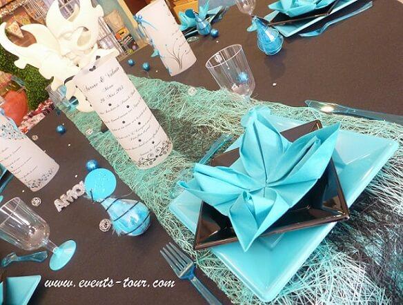 Decoration de table argent et bleu