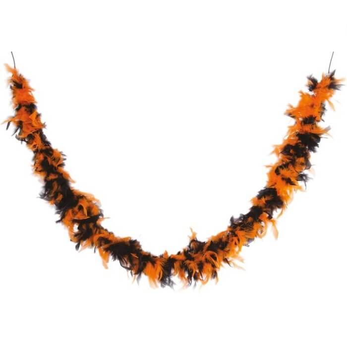 Decoration de table avec guirlande plumes boa orange et noir