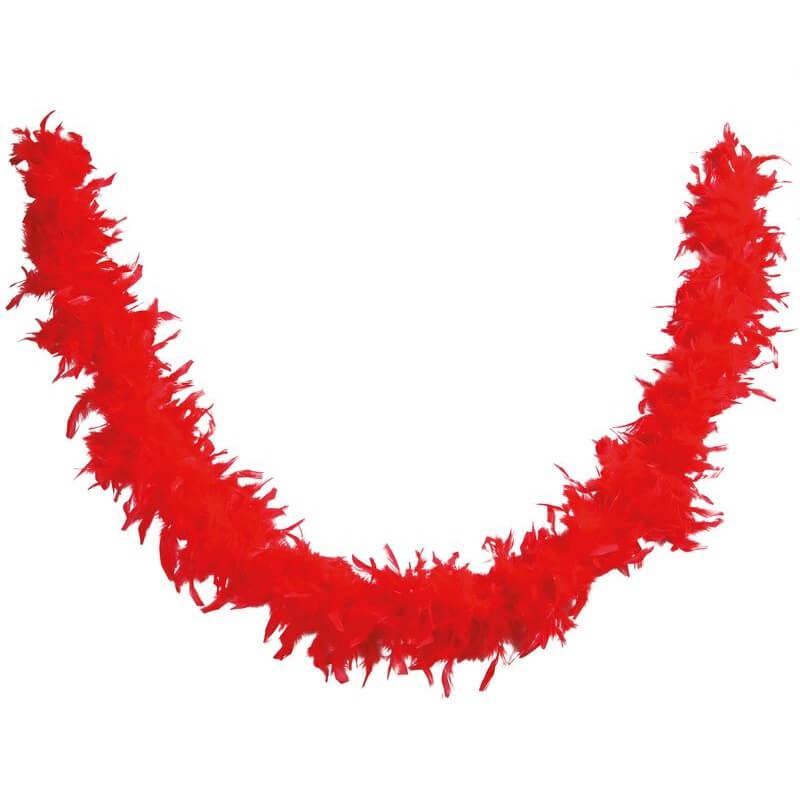 Decoration de table avec guirlande plumes boa rouge