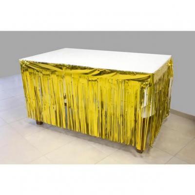 Décoration de table avec jupon doré métallisé avec des franges 74cm x 4.20m (x1) REF/GUI084