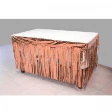 Décoration de table avec jupon rose gold métallisé avec des franges 74cm x 4.20m (x1) REF/GUI084