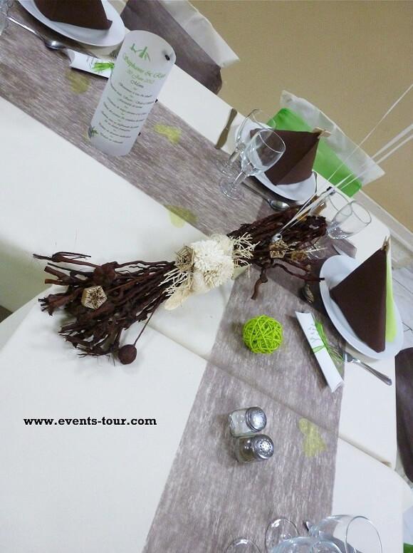Decoration de table avec nappe airalid en 25m champagne