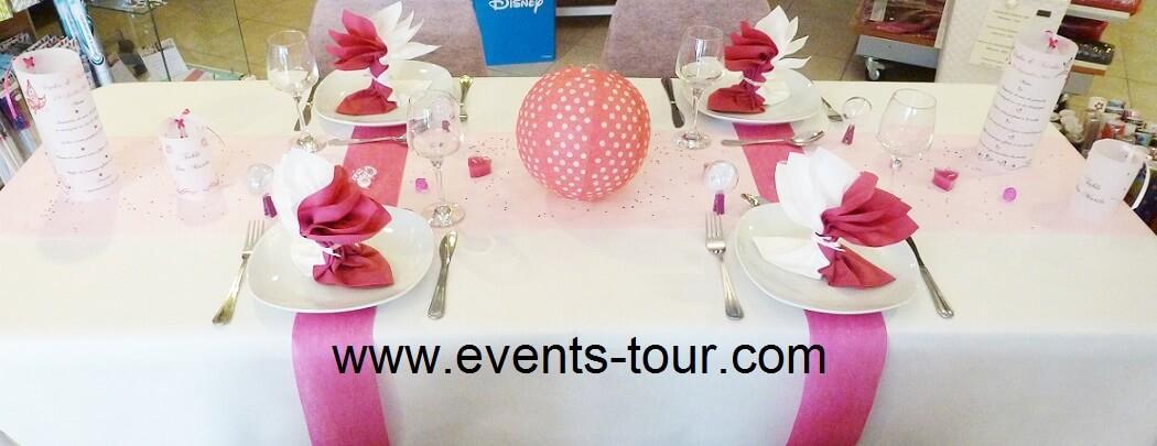 Decoration de table avec nappe blanche de 10m