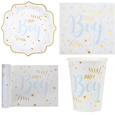 1 Pack décoratif avec vaisselle Baby Shower Boy en blanc, bleu ciel et doré métallisé pour 10 personnes.