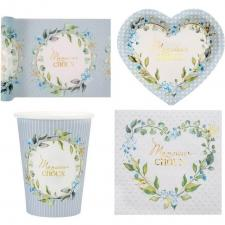 1 Pack décoration de table Baby Shower Mr Choux pour garçon avec fleurs pour 10 personnes.