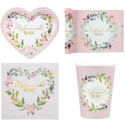 1 Pack décoration de table Baby Shower Mlle Rose pour fille avec fleurs pour 10 personnes.