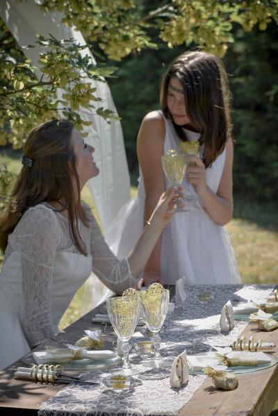 Decoration de table blanche et or