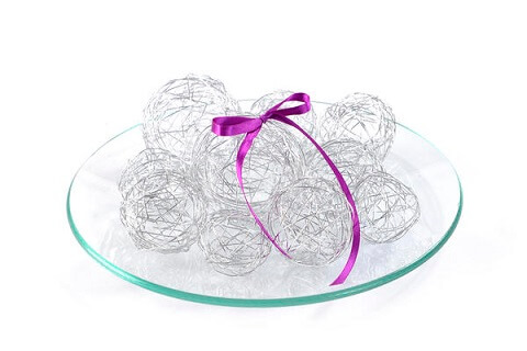 Decoration de table boule argent