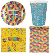 1 Pack décoration de table Carnaval multicolore et festif pour 10 personnes.