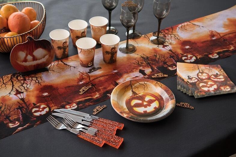 Decoration de table citrouille bois sur socle