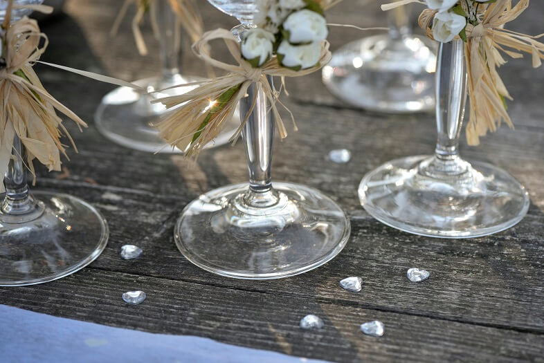 Decoration de table coeur diamant