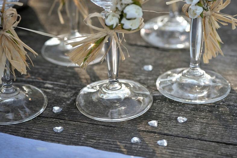 Decoration de table coeur diamant