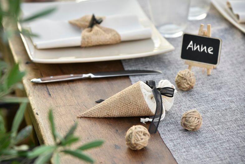 Decoration de table cornet naturel en jute