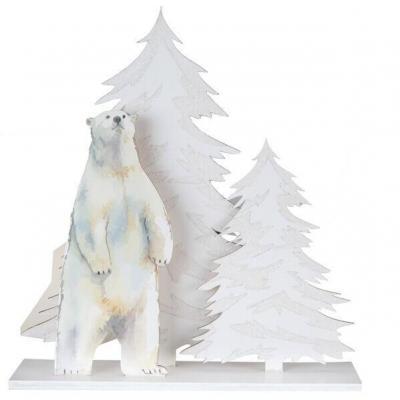 Décoration de table de Noël avec ours polaire blanc irisé (x1) REF/7055