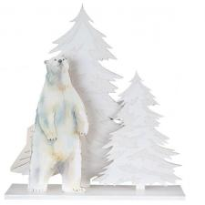 Decoration de table de noel avec ours polaire blanc irise