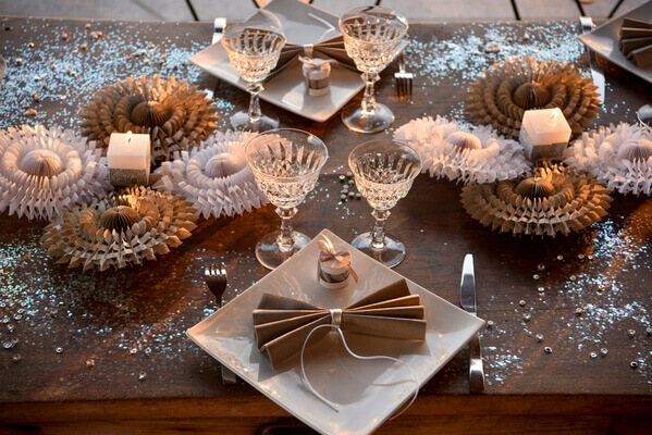 Decoration de table de noel blanche