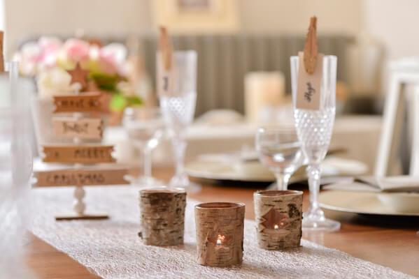 Decoration de table ecorce
