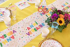 Decoration de table fete joyeux anniversaire multicolore