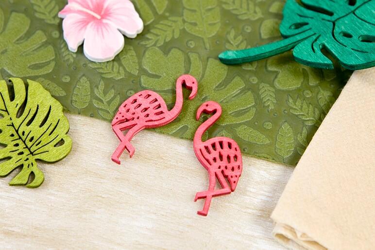 Decoration de table flamand rose tropical