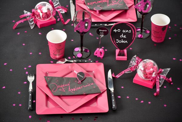 Decoration de table fuchsia 40ans