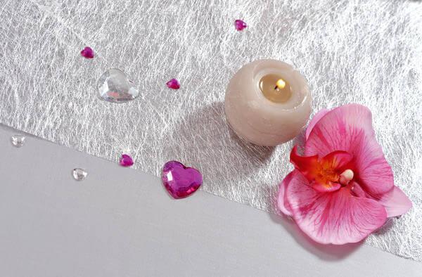 Decoration de table fuchsia et argent