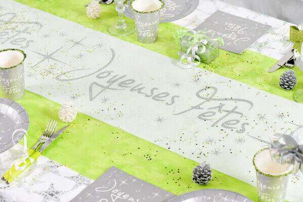 Decoration de table joyeuses fetes blanc