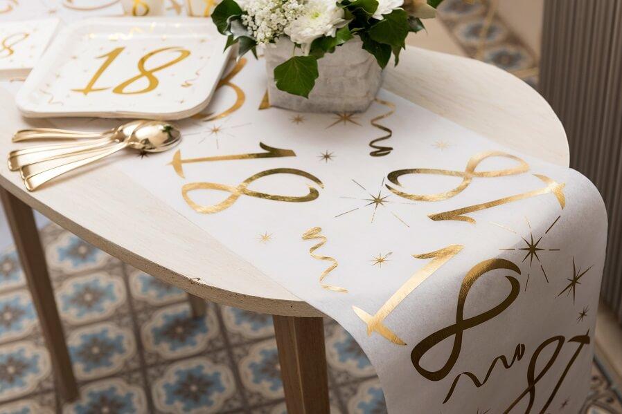 Decoration de table joyeux anniversaire 18ans or et blanc