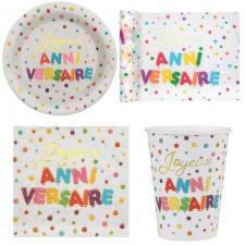 1 Pack décoration de table Joyeux anniversaire multicolore pour 10 personnes.