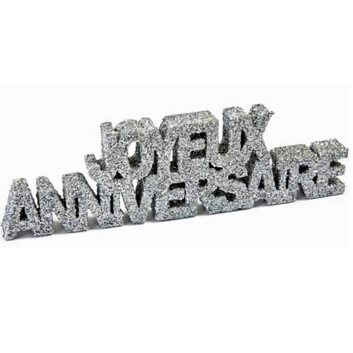 Decoration de table lettre joyeux anniversaire argent paillete