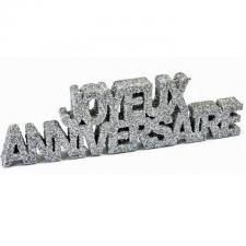Lettre pailletée joyeux anniversaire argent (x1) REF/DEC758