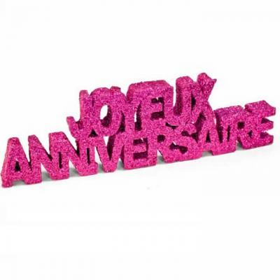 Lettre pailletée joyeux anniversaire rose fuchsia (x1) REF/DEC758