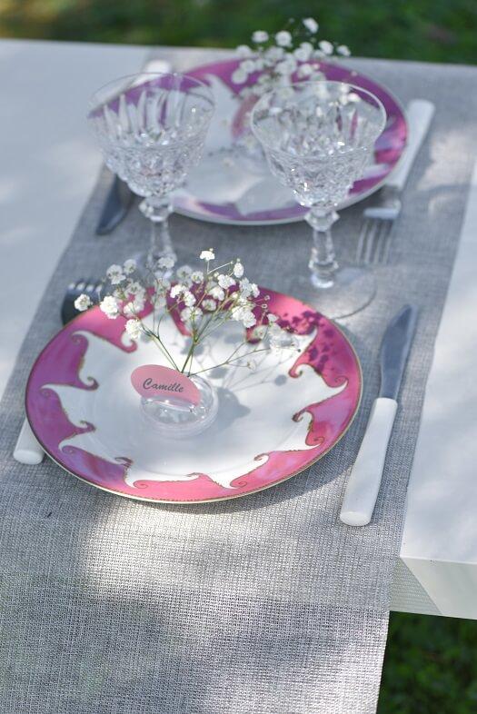 Decoration de table lurex argent en polylin