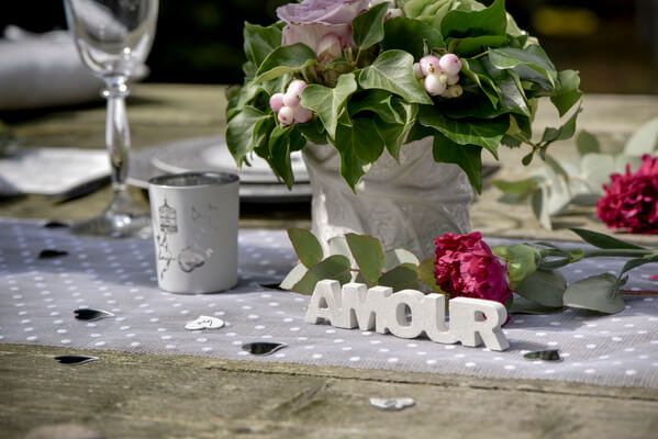 Decoration de table mariage blan